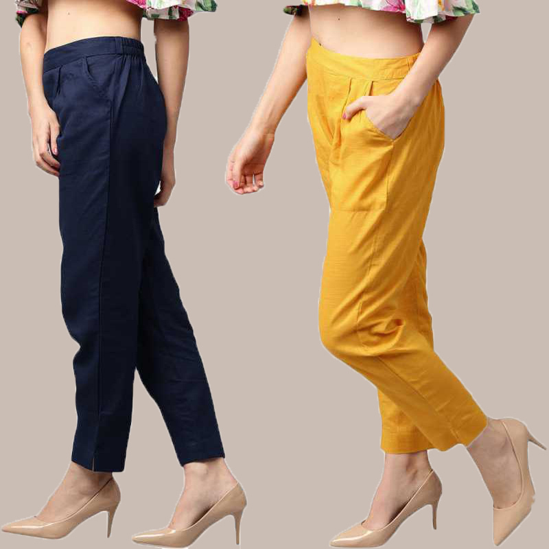 Combo of 2 Cotton Ankle Length Trouser Blue and Yellow-34814