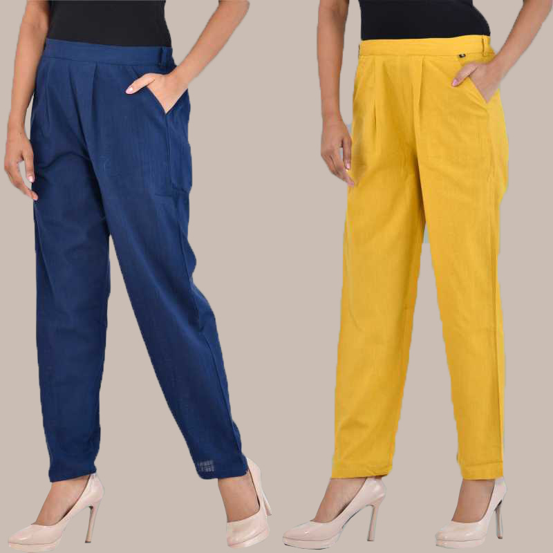 Combo of 2 Cotton Ankle Length Trouser Blue and Yellow-34818