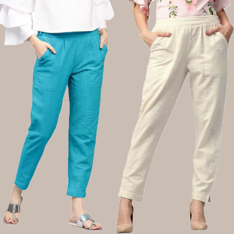 Combo of 2 Cotton Ankle Length Trouser Cyan and White-34807