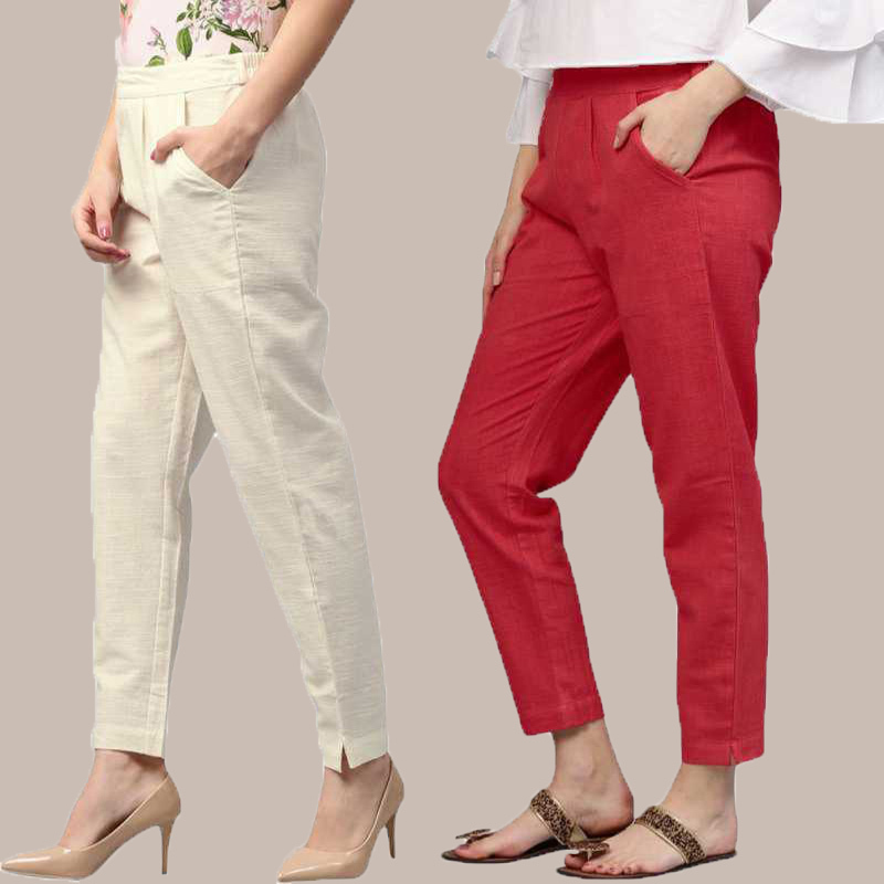 Combo of 2 Cotton Ankle Length Trouser White and Red-34803