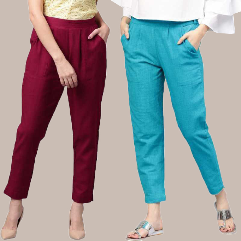 Combo of 2 Cotton Ankle Length Trouser Wine and Cyan-34810