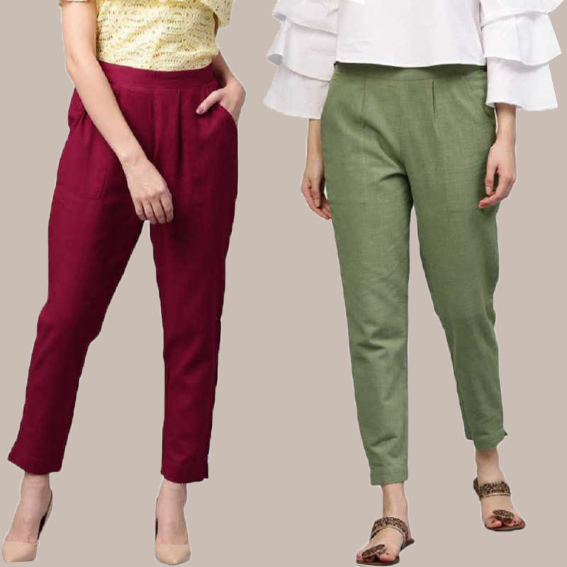 Combo of 2 Cotton Ankle Length Trouser Wine and Olive Green-34802