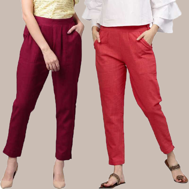 Combo of 2 Cotton Ankle Length Trouser Wine and Red-34804