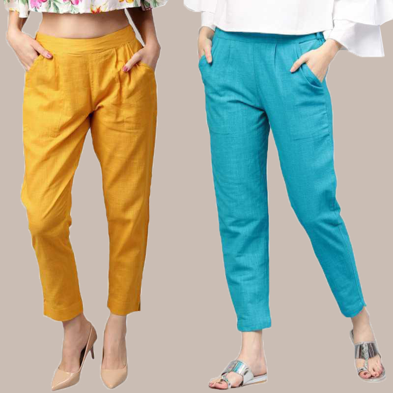 Combo of 2 Cotton Ankle Length Trouser Yellow and Cyan-34806