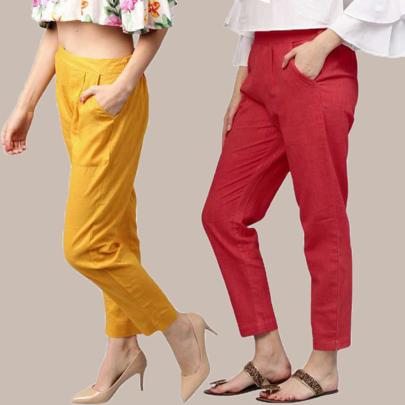 Combo of 2 Cotton Ankle Length Trouser Yellow and Red-34813