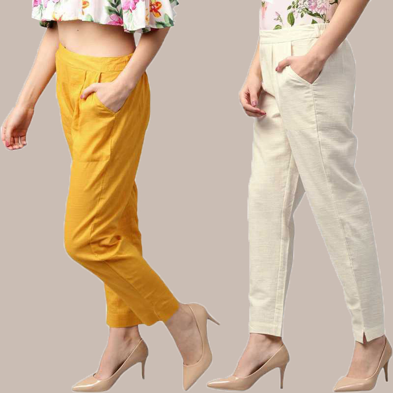 Combo of 2 Cotton Ankle Length Trouser Yellow and White-34809