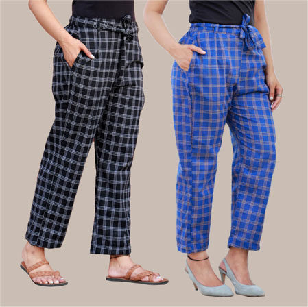 Combo of 2 Cotton Check Pant with Belt Black and Blue-34994