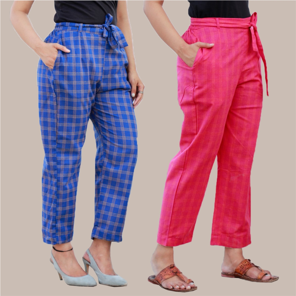 Combo of 2 Cotton Check Pant with Belt Blue and Pink-35031