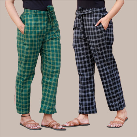Combo of 2 Cotton Check Pant with Belt Green and Black-34992