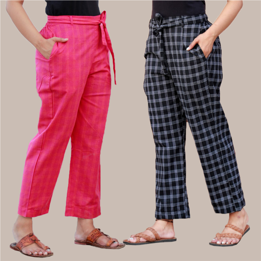 Combo of 2 Cotton Check Pant with Belt Pink and Black-35030
