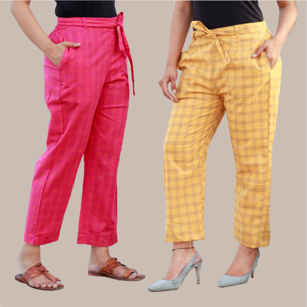 Combo of 2 Cotton Check Pant with Belt Pink and Yellow-35032
