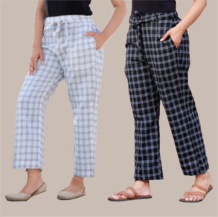 Combo of 2 Cotton Check Pant with Belt White and Black-34990