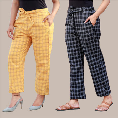 Combo of 2 Cotton Check Pant with Belt Yellow and Black-34987