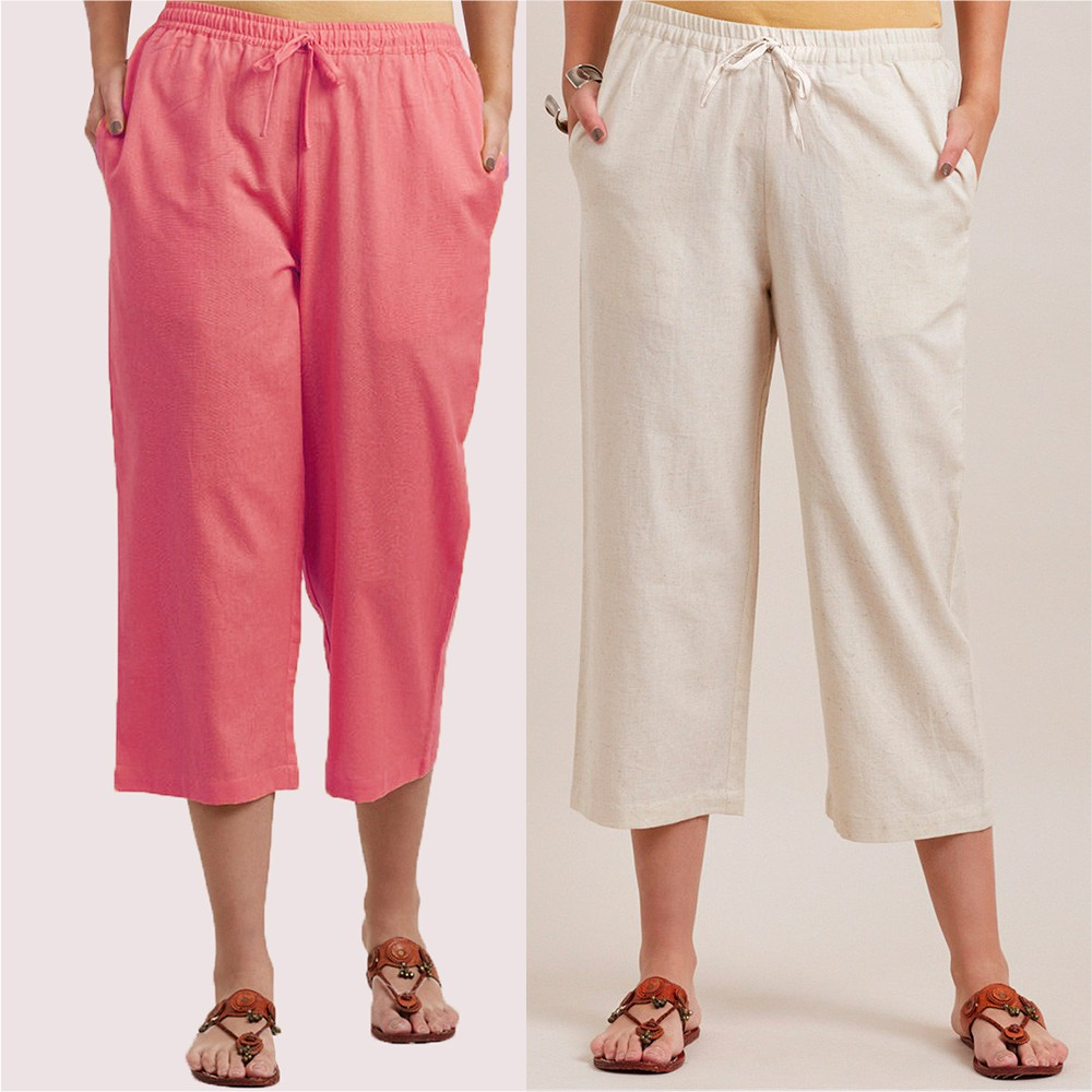 Combo of 2 Cotton Culottes Baby Pink and White-34406
