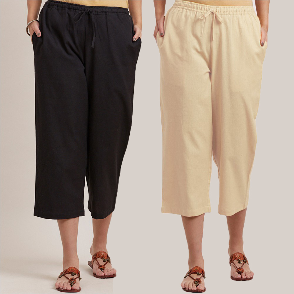Combo of 2 Cotton Culottes Black and Cream-34413