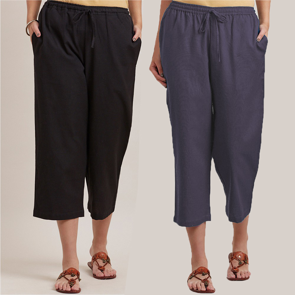 Combo of 2 Cotton Culottes Black and Gray-34402