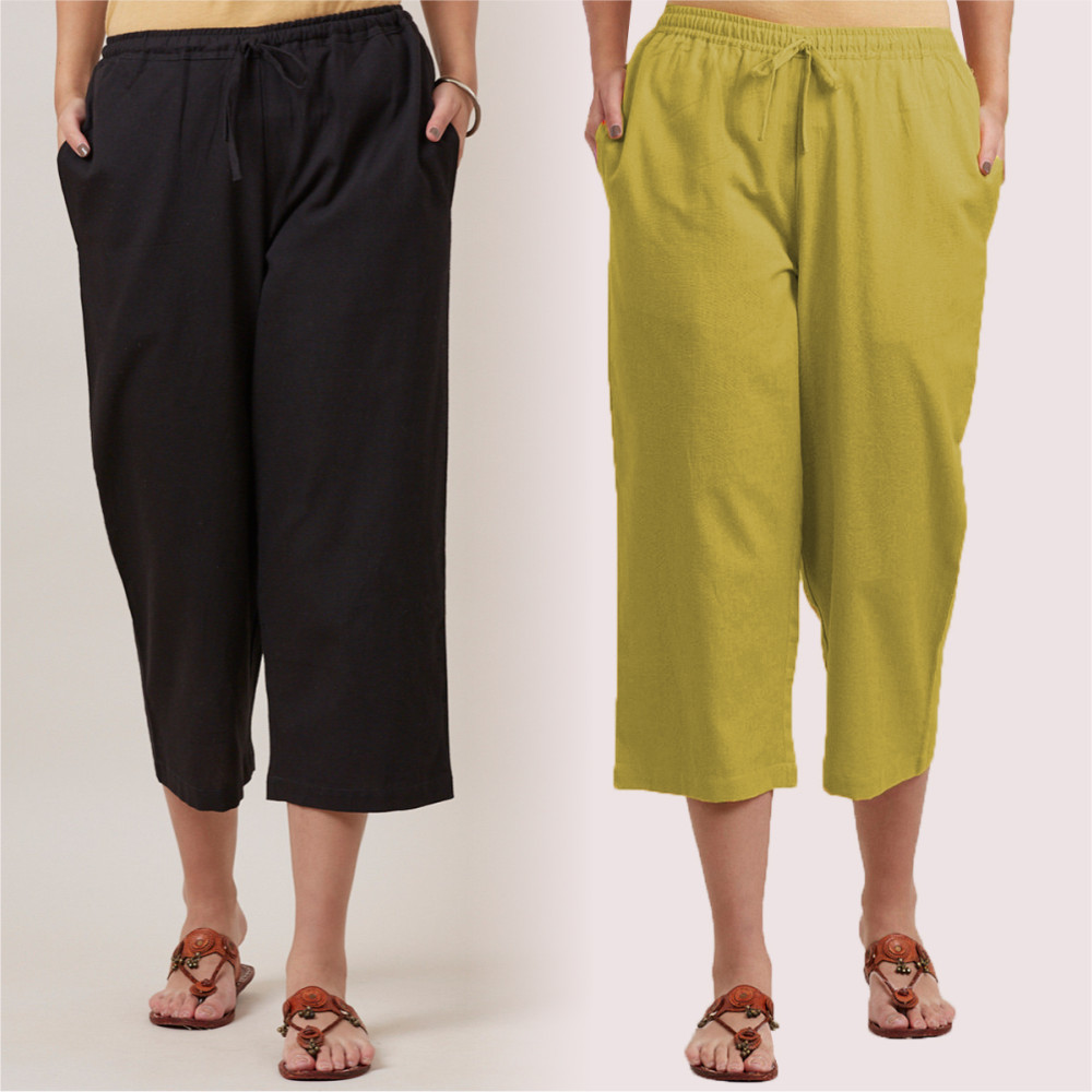 Combo of 2 Cotton Culottes Black and Green-35220