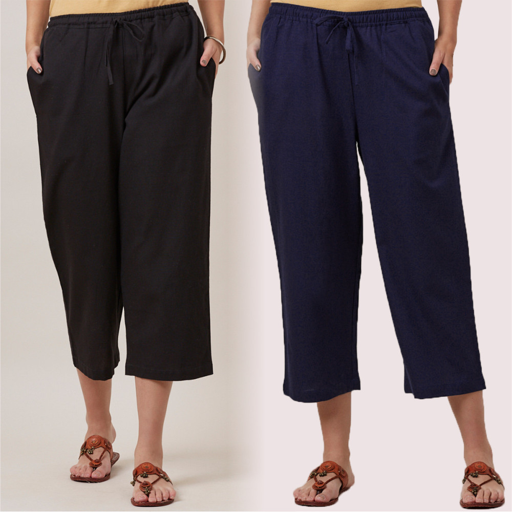 Combo of 2 Cotton Culottes Black and Navy Blue-35216