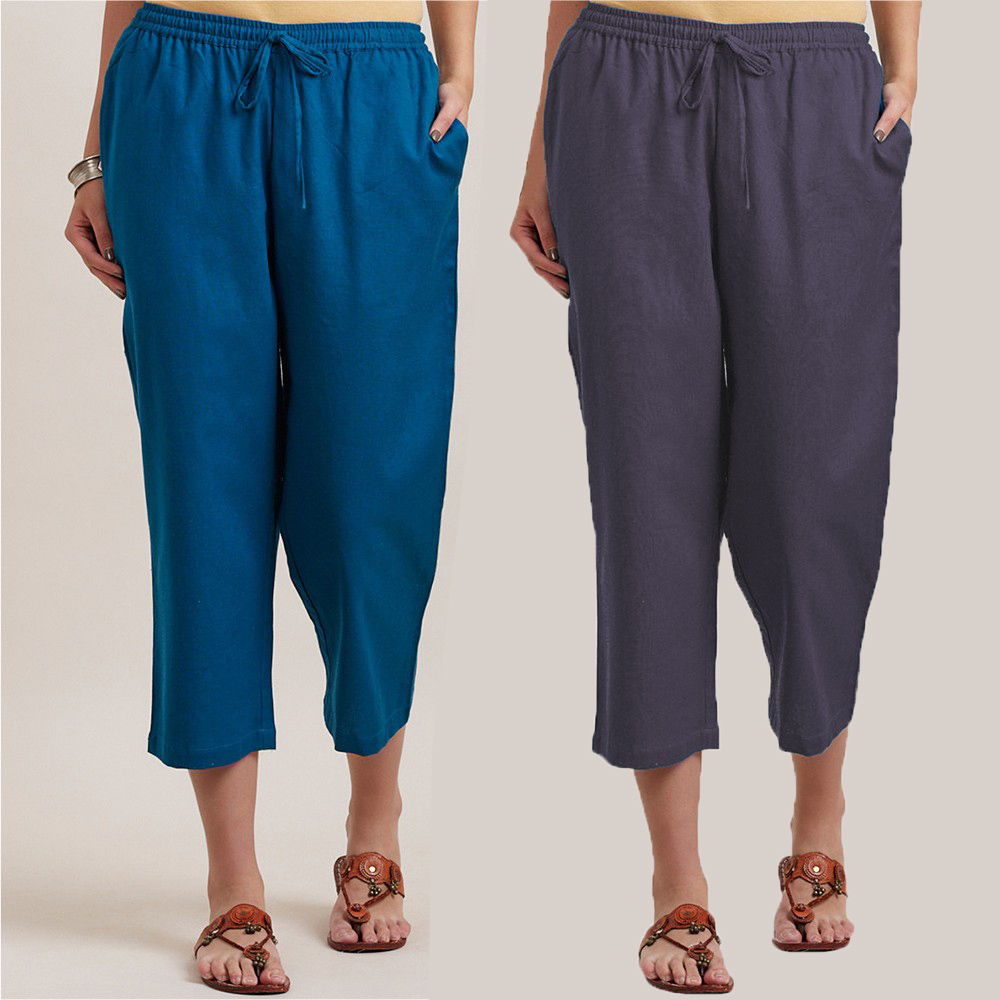 Combo of 2 Cotton Culottes Blue and Gray-34412