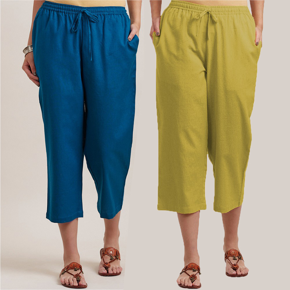 Combo of 2 Cotton Culottes Blue and Green-34403