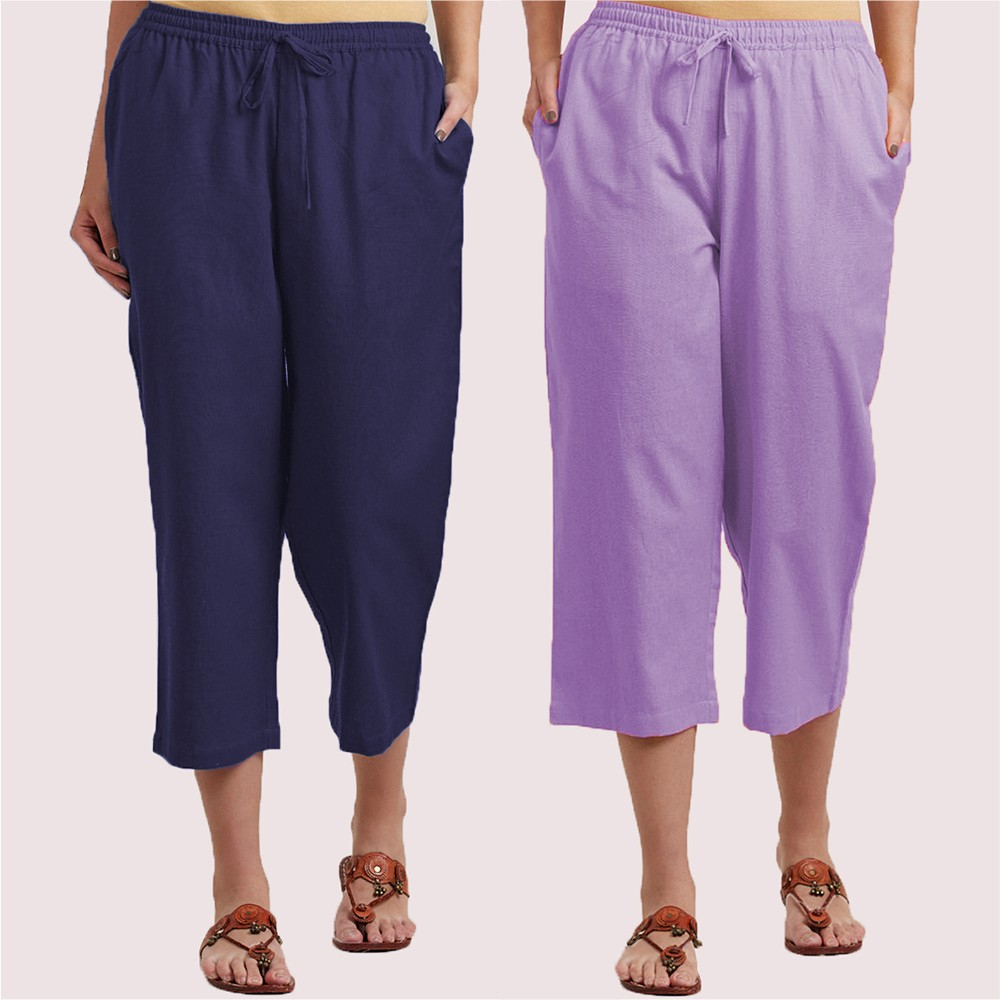 Combo of 2 Cotton Culottes Blue and Purple-34408