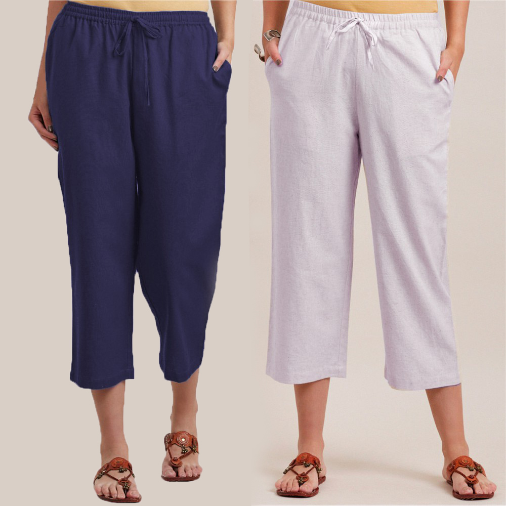Combo of 2 Cotton Culottes Blue and White-34389