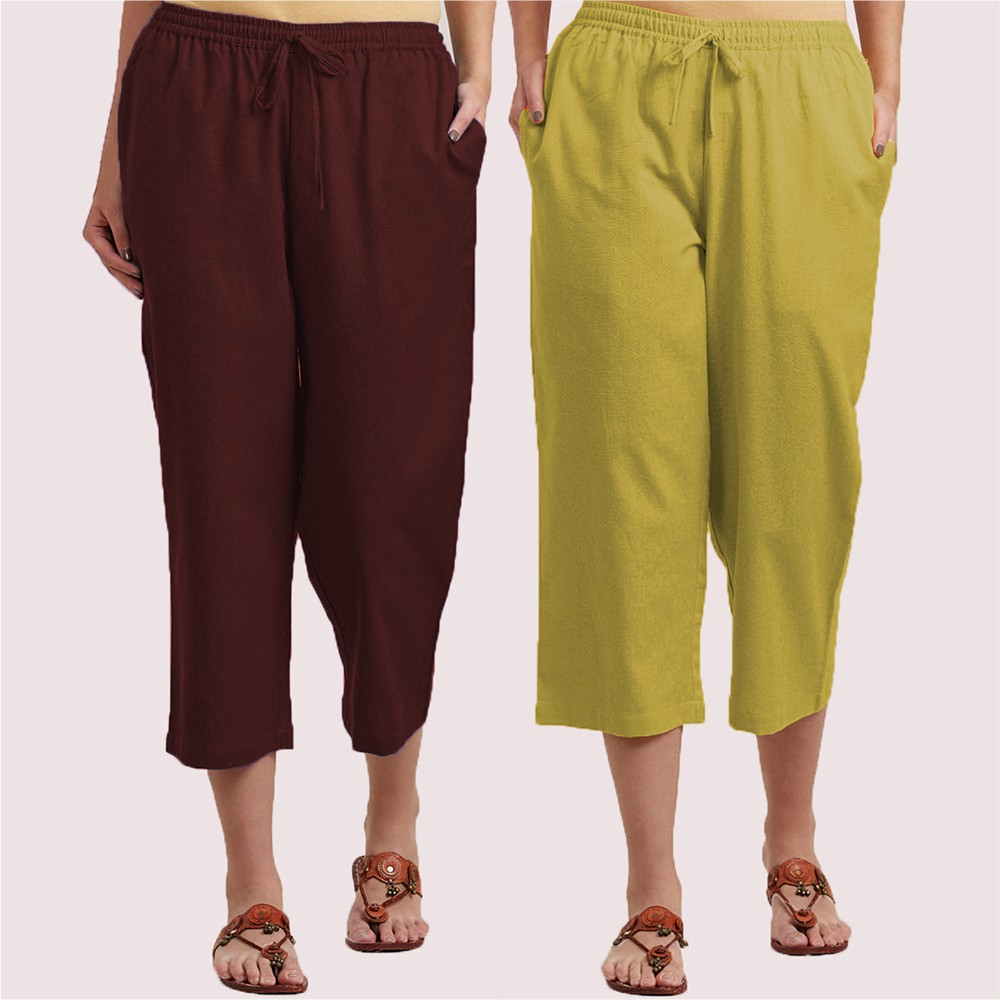 Combo of 2 Cotton Culottes Brown and Green-34399