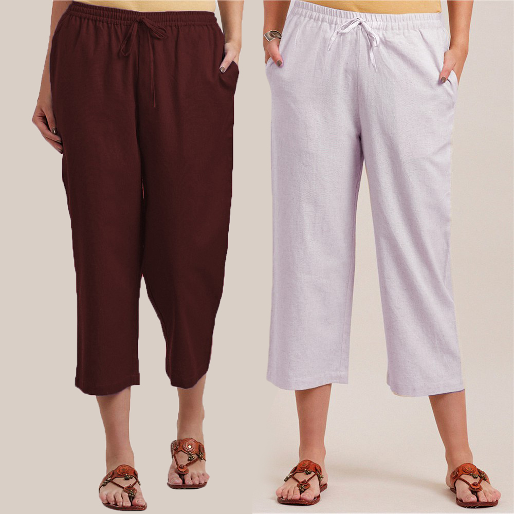 Combo of 2 Cotton Culottes Brown and White-34398