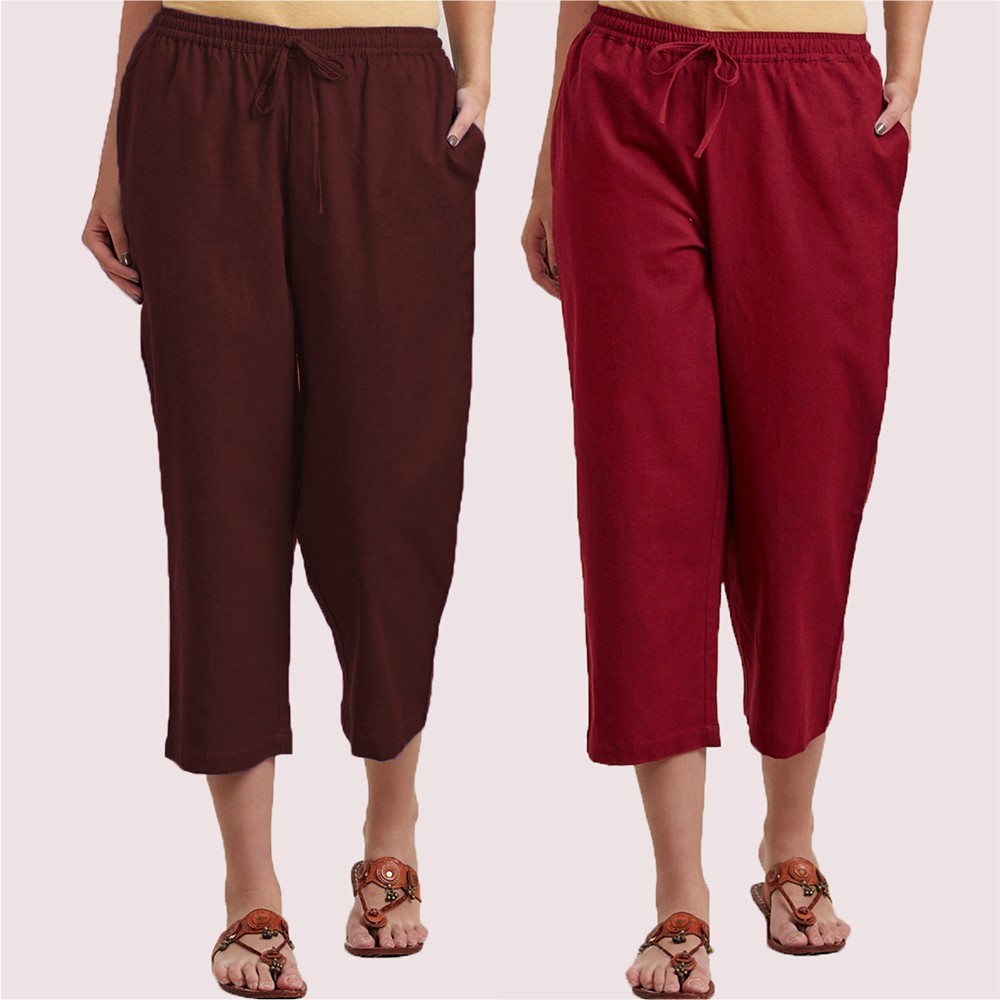 Combo of 2 Cotton Culottes Brown and Wine-34393