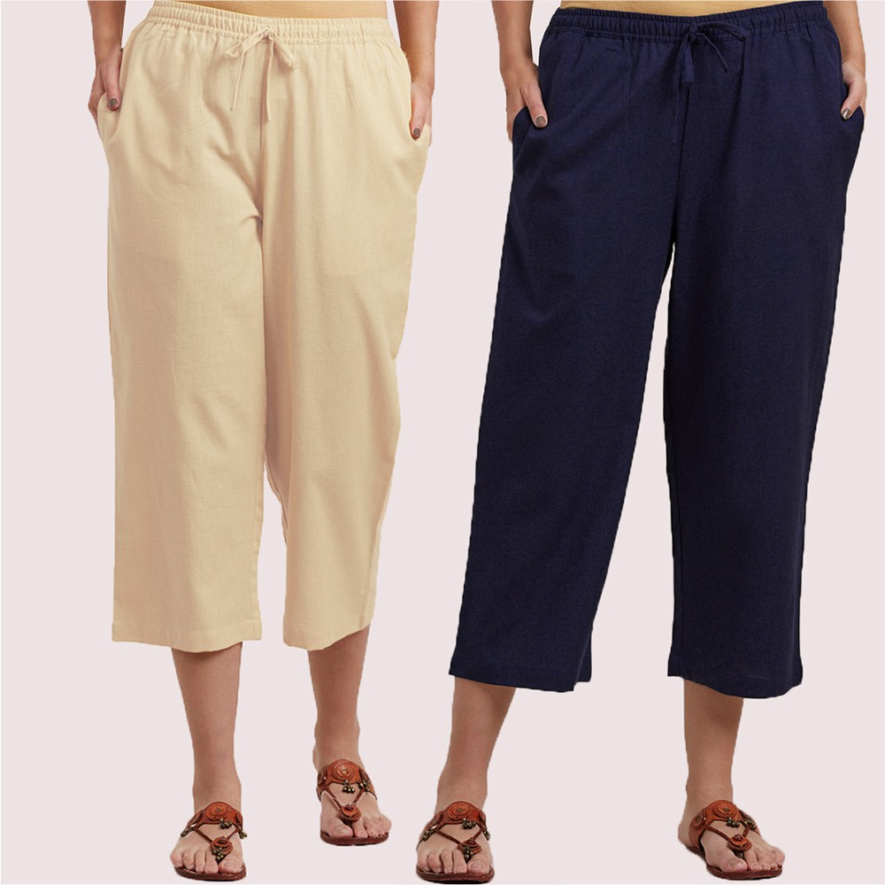 Combo of 2 Cotton Culottes Cream and Blue-34407