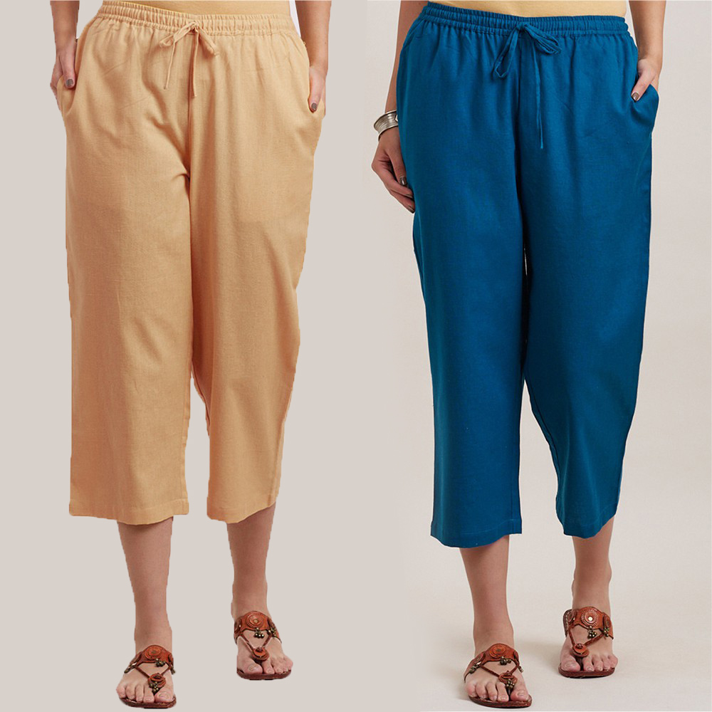 Combo of 2 Cotton Culottes Cream and Blue-34409