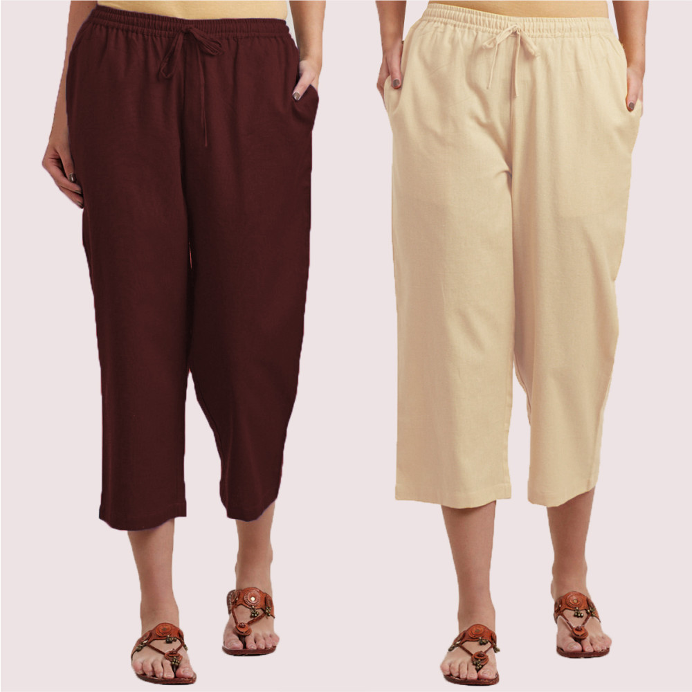 Combo of 2 Cotton Culottes Cream and Brown-35214