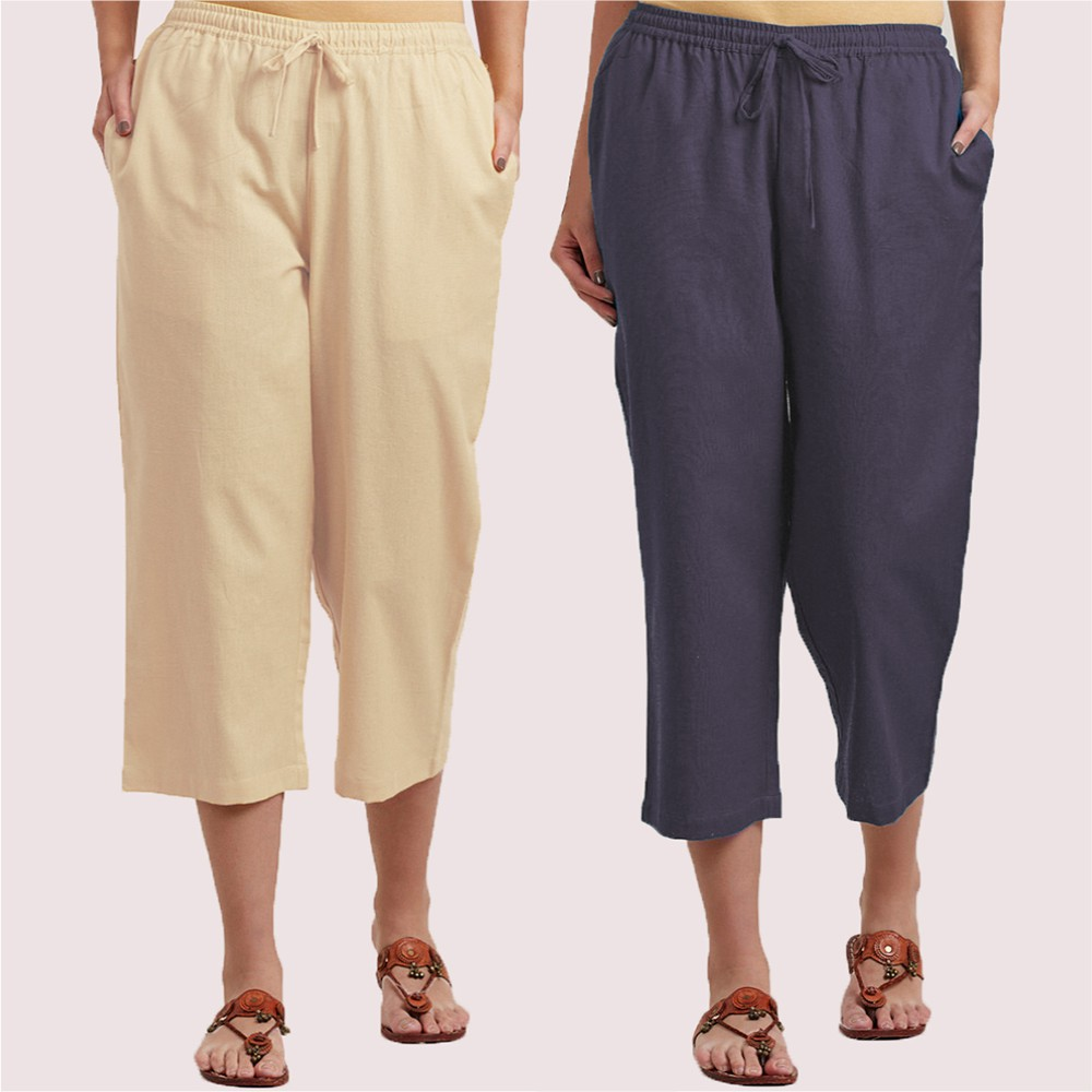 Combo of 2 Cotton Culottes Cream and Gray-34410