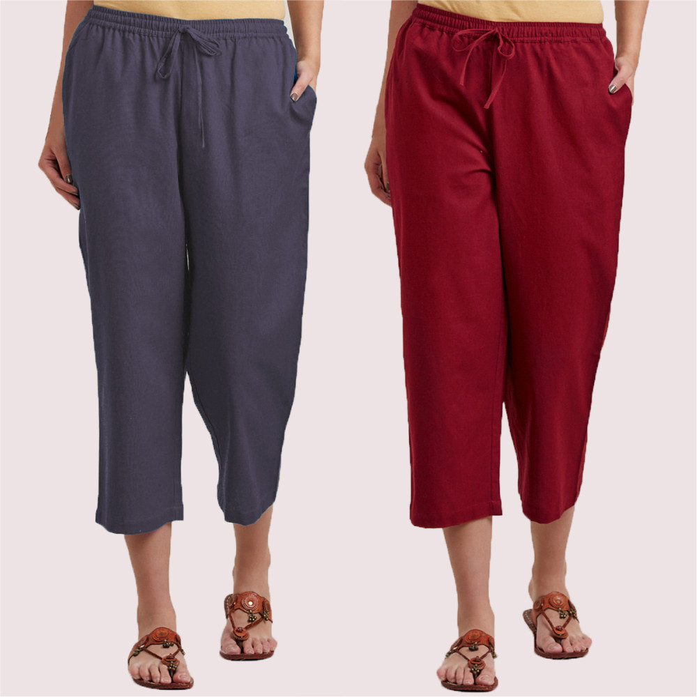 Combo of 2 Cotton Culottes Gray and Wine-35230