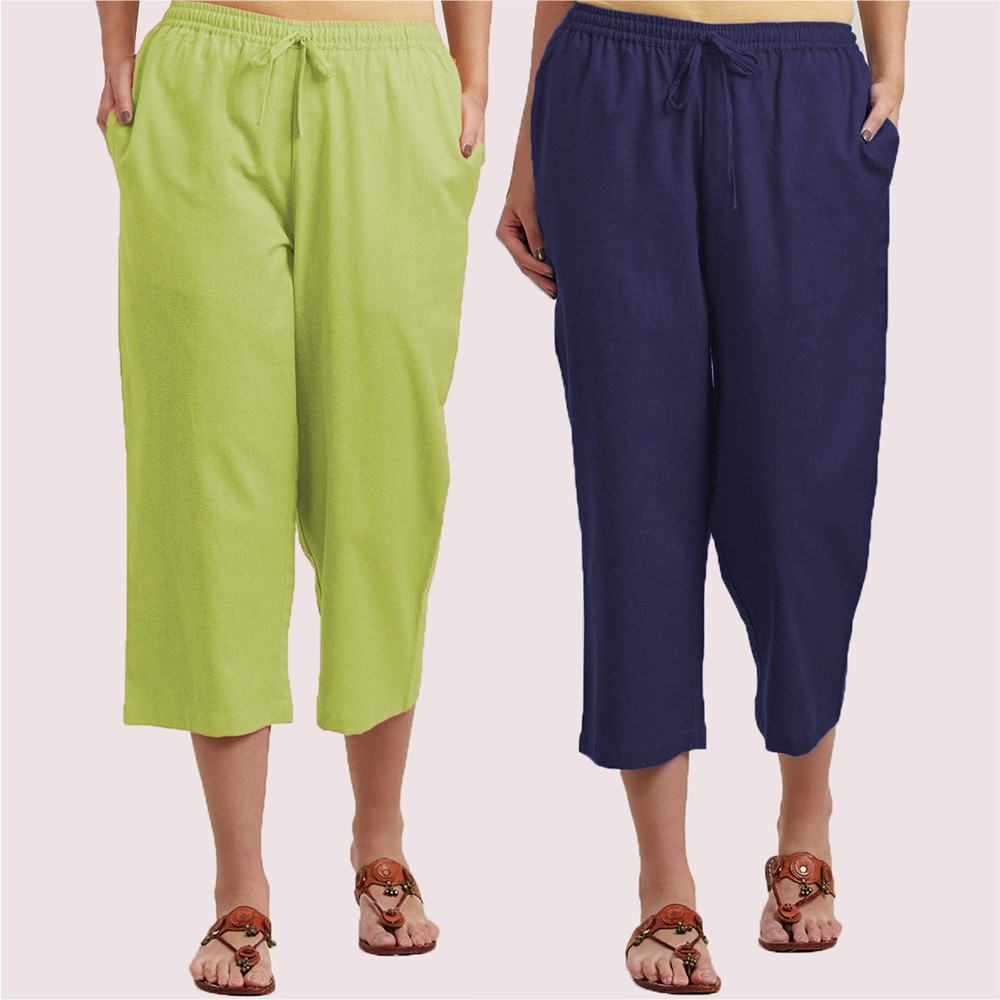 Combo of 2 Cotton Culottes Green and Blue-34397