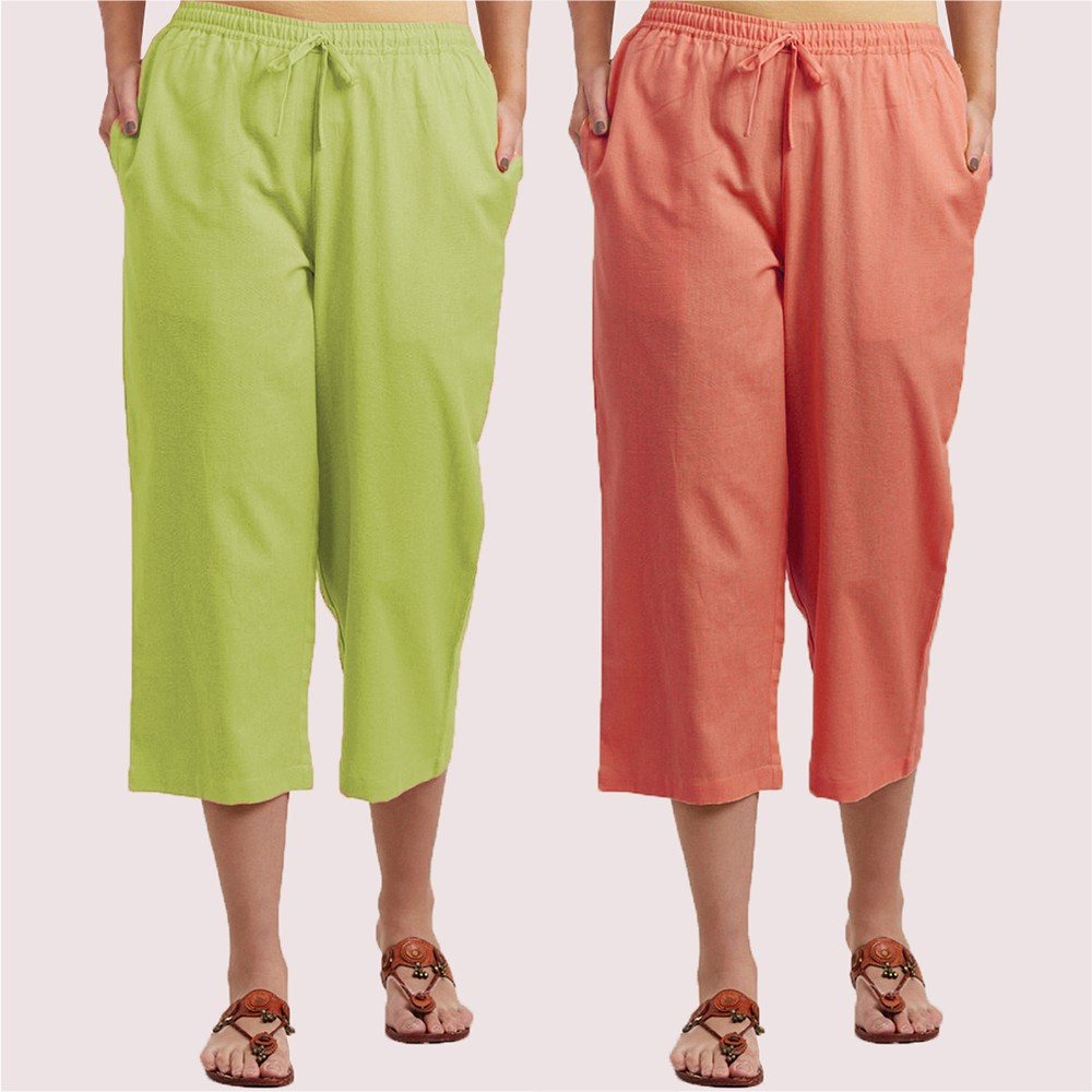 Combo of 2 Cotton Culottes Green and Peach-34405