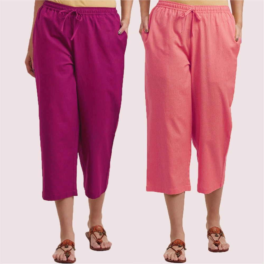 Combo of 2 Cotton Culottes Magenta Pink and Baby Pink-34390