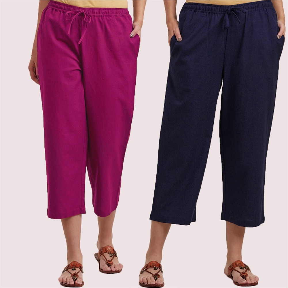 Combo of 2 Cotton Culottes Magenta Pink and Blue-34394