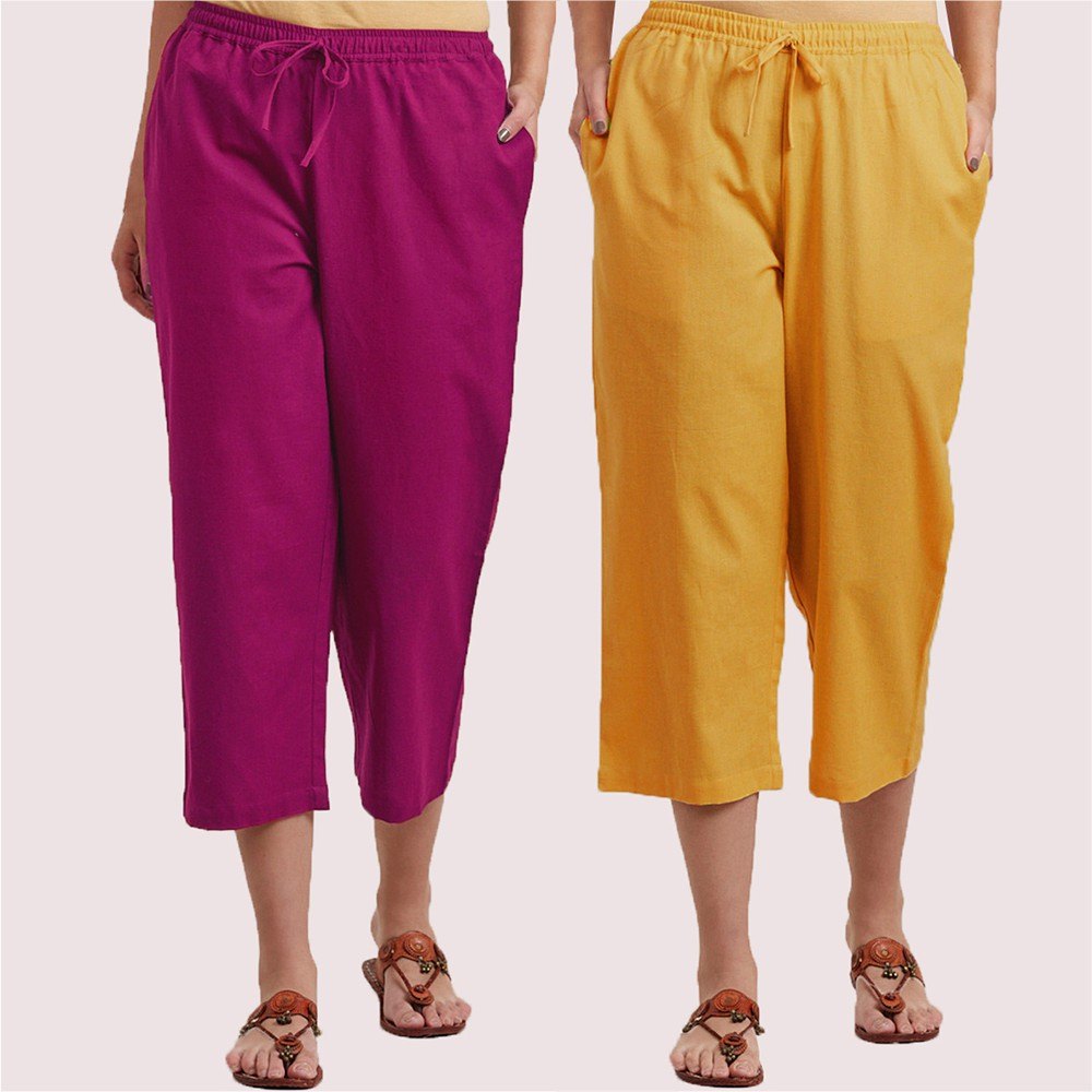 Combo of 2 Cotton Culottes Magenta Pink and Mustard Yellow-34400