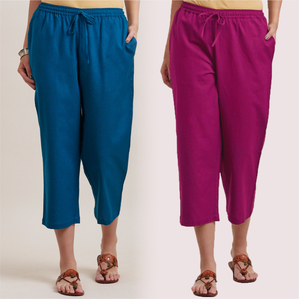 Combo of 2 Cotton Culottes Magenta Pink and Royal Blue-35212