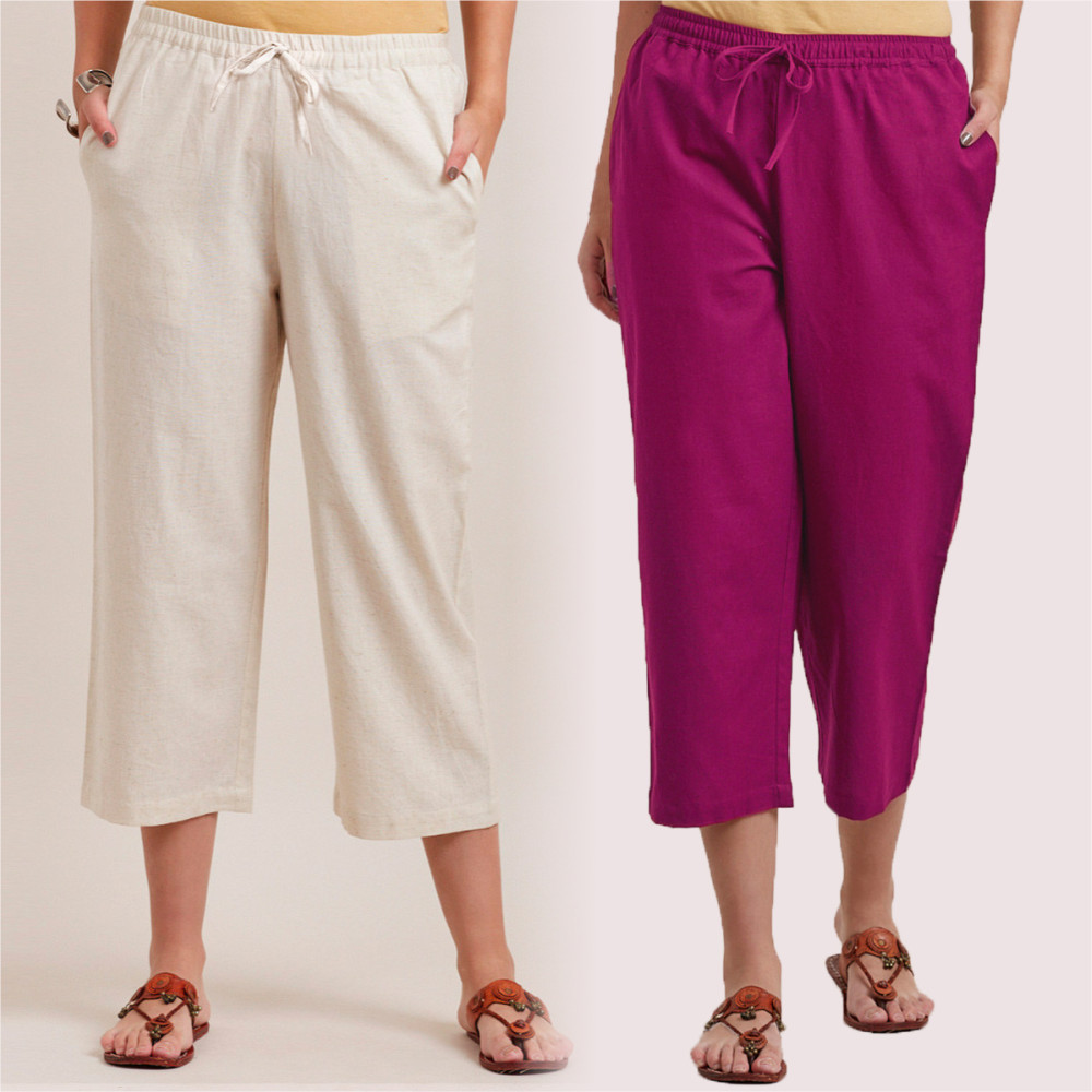 Combo of 2 Cotton Culottes Magenta Pink and White-35228