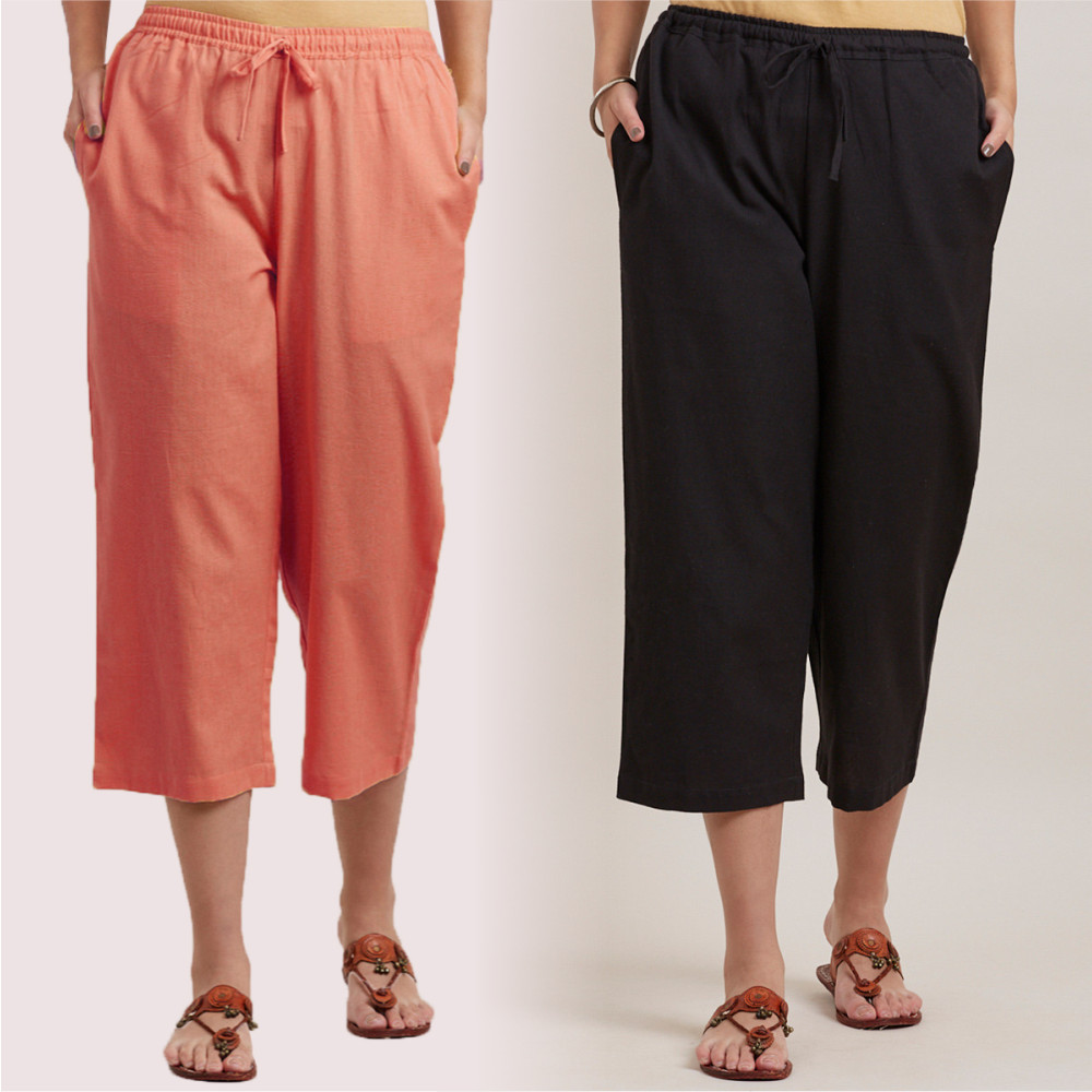 Combo of 2 Cotton Culottes Peach and Black-35209