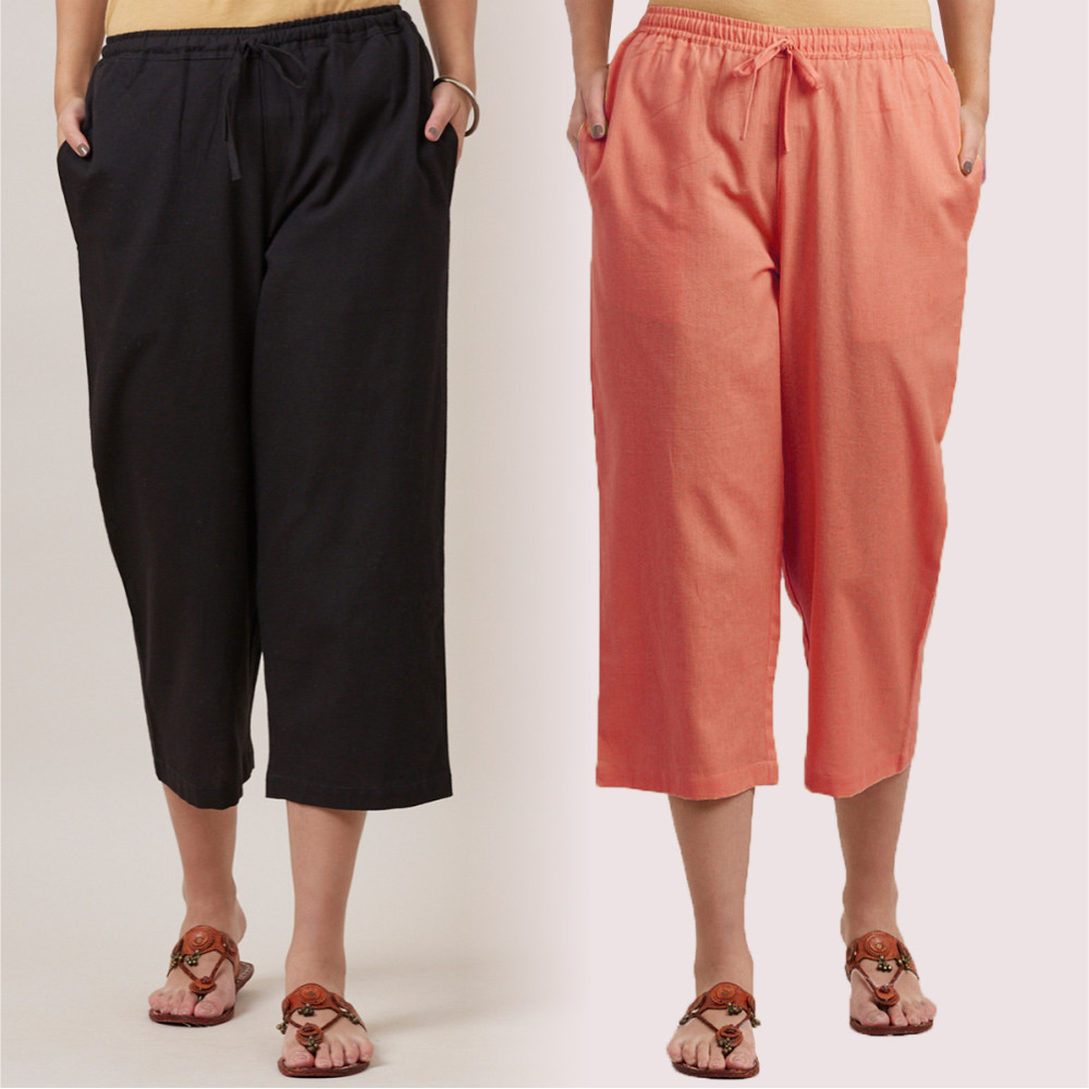 Combo of 2 Cotton Culottes Peach and Black-35224