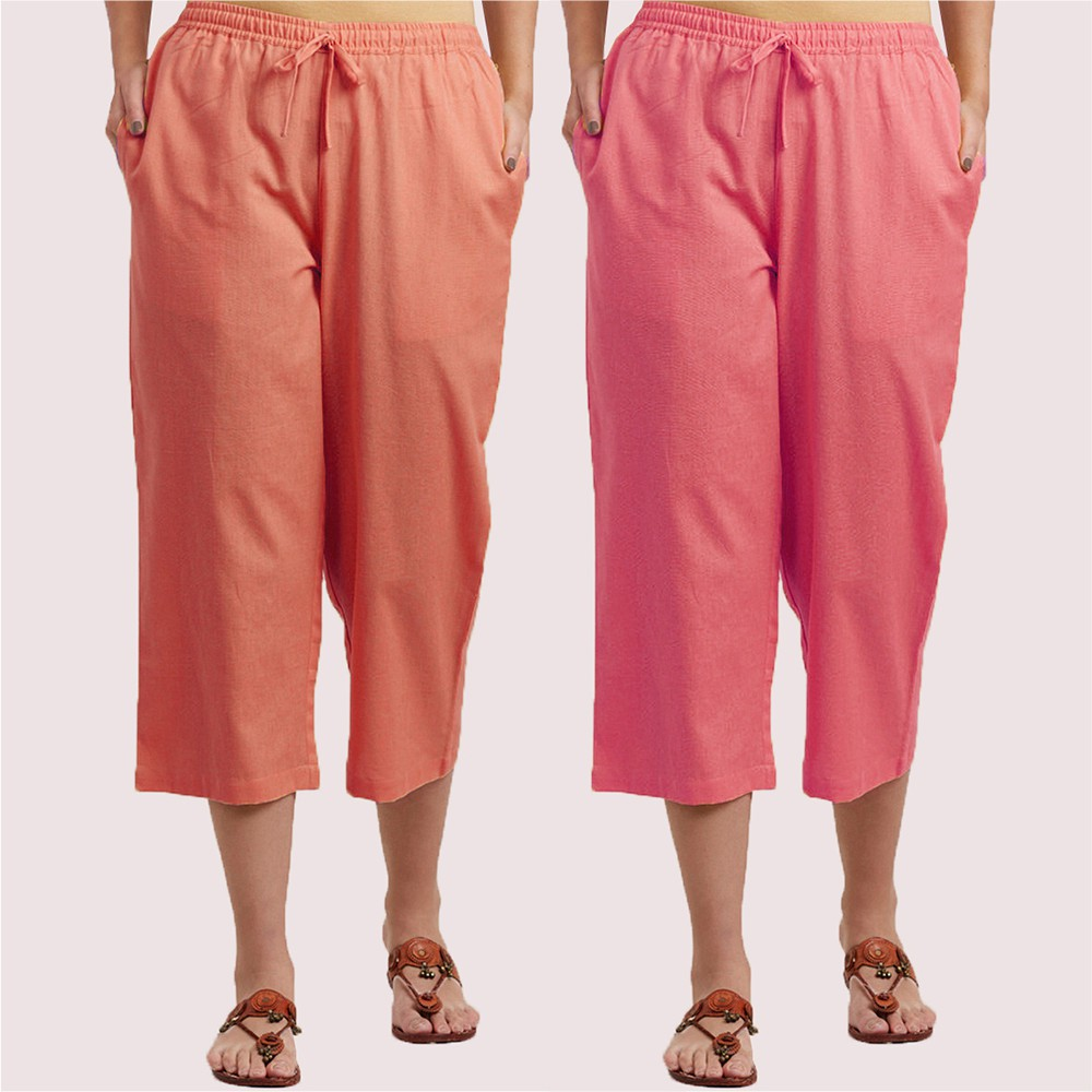 Combo of 2 Cotton Culottes Peach and Pink-34411