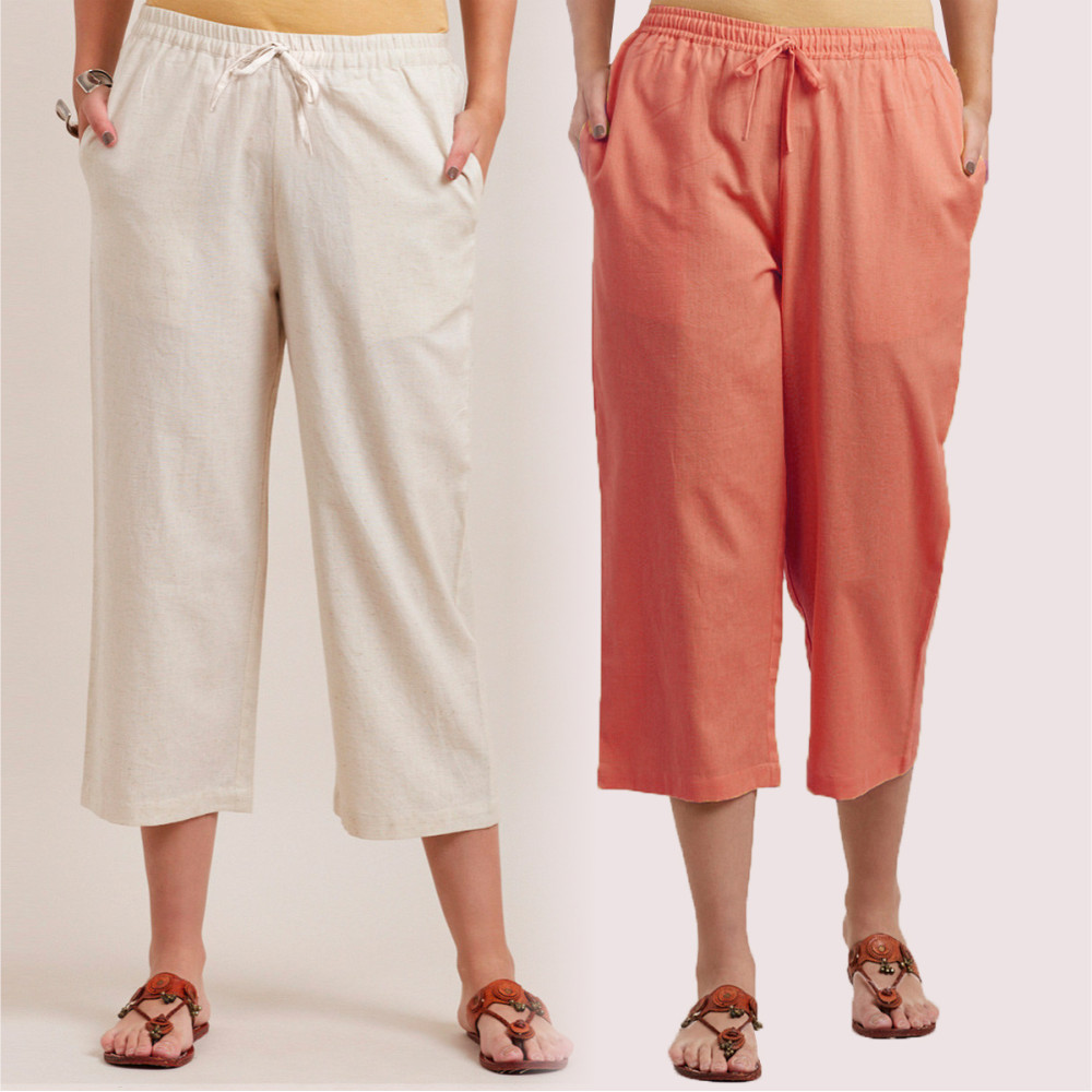 Combo of 2 Cotton Culottes Peach and White-35225