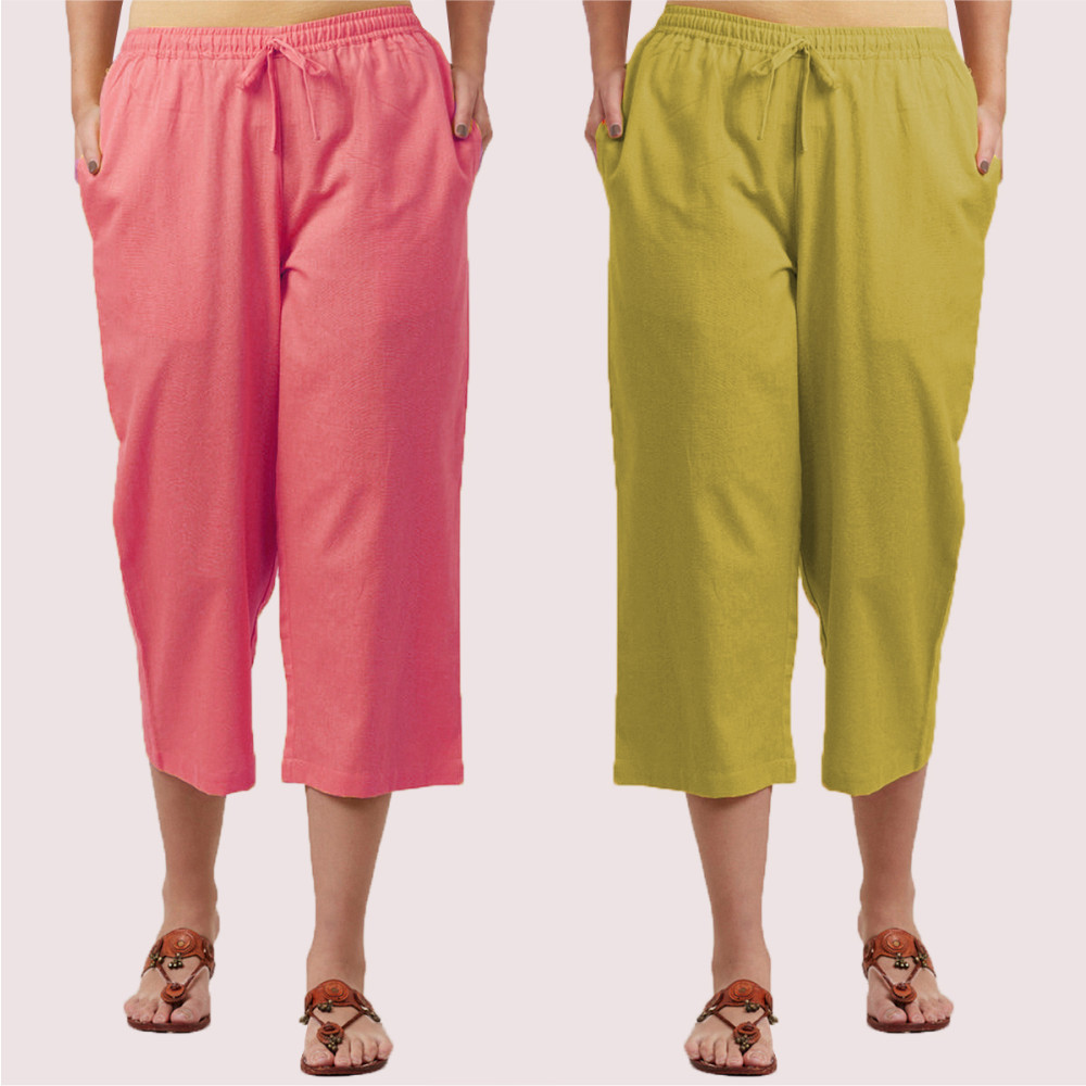 Combo of 2 Cotton Culottes Pink and Green-35221