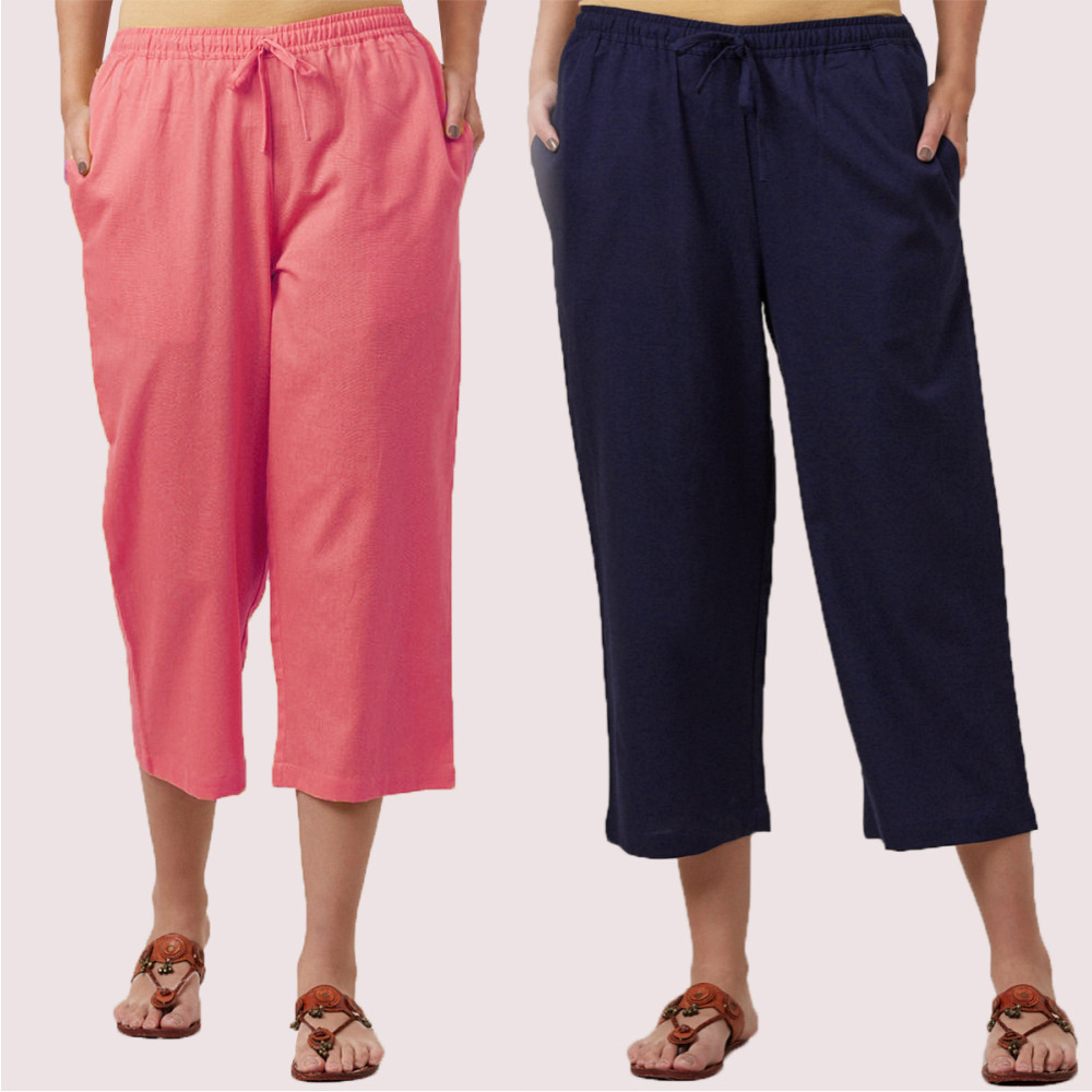 Combo of 2 Cotton Culottes Pink and Navy Blue-35218