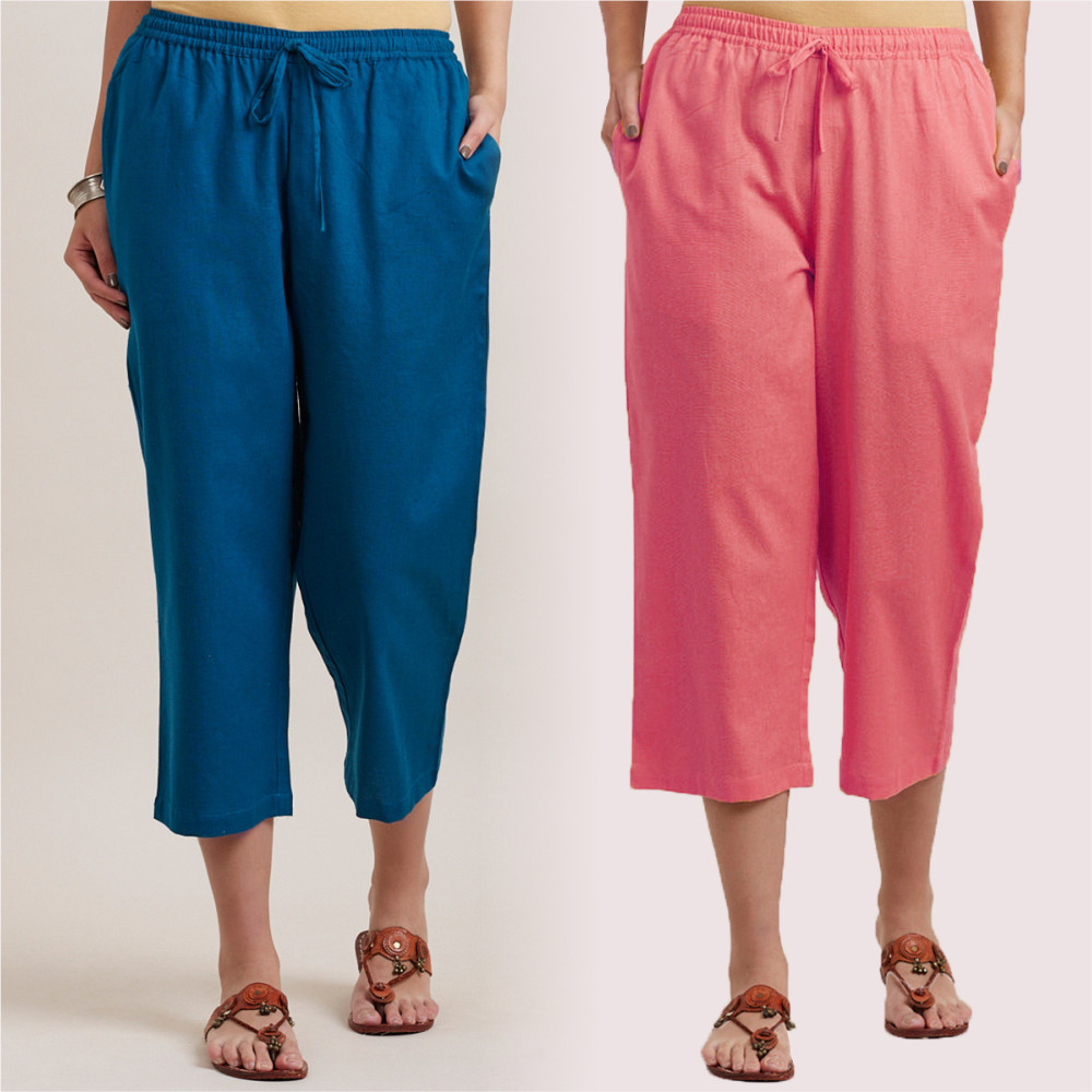 Combo of 2 Cotton Culottes Pink and Royal Blue-35213