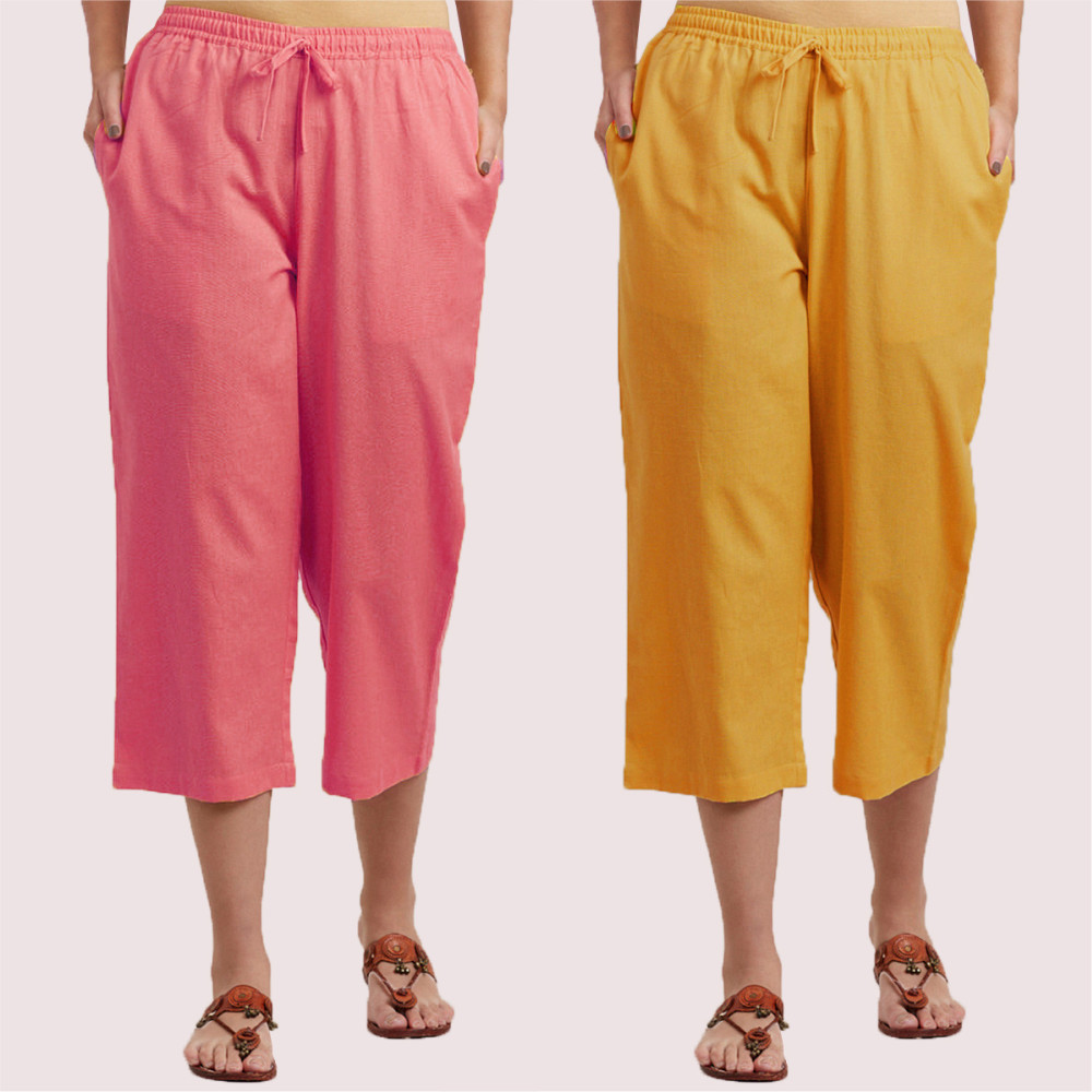 Combo of 2 Cotton Culottes Pink and Yellow-35231