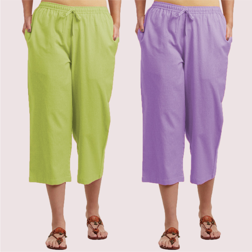 Combo of 2 Cotton Culottes Purple and Mint Green-35222